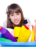 Cleaning agents and  girl Royalty Free Stock Photography