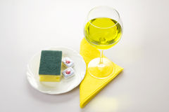 Cleaning Agents In The Plate and Wine Glass Stock Photos