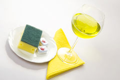 Cleaning Agents In The Plate and Wine Glass Stock Images