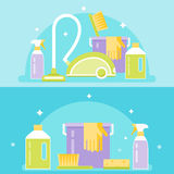 Cleaning Agents, Tools and Devices. Cleaning Service Illustration Stock Images
