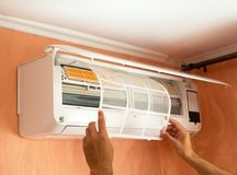 Cleaning Air Conditioning System At Home royalty free stock photos