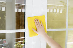 Cleaning aluminum window Stock Images