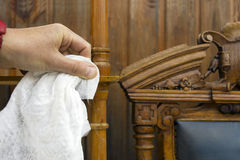 Cleaning Antique Furniture Royalty Free Stock Image