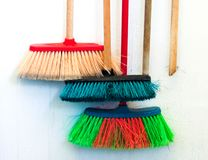 Cleaning articles. Hanging in the yard Royalty Free Stock Photo