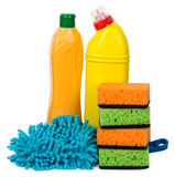 Cleaning articles and sponges. Isolated on white Stock Photography