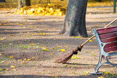 Cleaning in the autumn park Royalty Free Stock Images