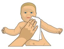 Cleaning baby Stock Photography