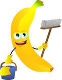 Cleaning banana Royalty Free Stock Photography