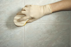 Cleaning the bathroom Stock Photos