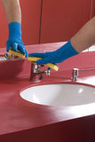 Cleaning Bathroom Sink stock photo