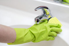 Cleaning Bathroom Sink Stock Images
