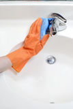 Cleaning Bathroom Sink Royalty Free Stock Photo