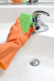 Cleaning Bathroom Sink Royalty Free Stock Photos