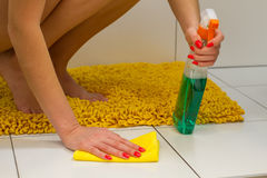 Cleaning  bathroom Stock Images