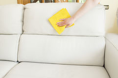 Cleaning a beige sofa. Young woman cleaning a beige sofa stock photo