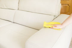Cleaning a beige sofa. Young woman cleaning a beige sofa with a yellow cloth royalty free stock photo