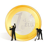 Cleaning of big Euro coin. Two cleaners with big Euro coin royalty free illustration
