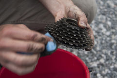 Cleaning bike parts Royalty Free Stock Photo