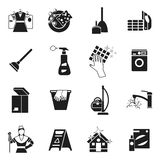 Cleaning Black White Icons Set Royalty Free Stock Images