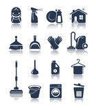 Cleaning blue icons stock illustration