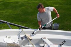 Cleaning The Boat Royalty Free Stock Photography