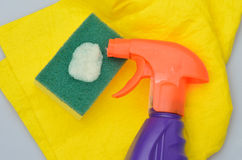 Cleaning bottle and fluid Royalty Free Stock Photo