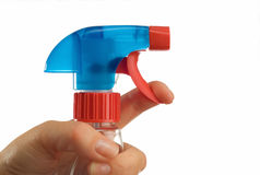 Cleaning bottle and hand Stock Images
