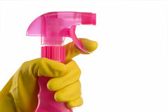 Cleaning bottle and hand Stock Image