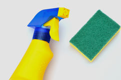 Cleaning bottle and scourer Stock Images