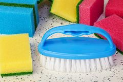 Cleaning brush with sponges around Stock Photo