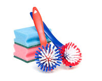 Cleaning brushes and kitchen sponges Stock Image