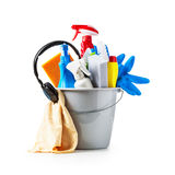 Cleaning bucket and headphone Royalty Free Stock Image