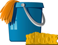 Cleaning: buckets, rubber gloves and sponge Royalty Free Stock Images