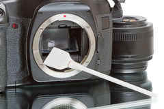 Cleaning the camera sensor Royalty Free Stock Photo