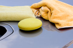 Cleaning the Car. Waxing process Royalty Free Stock Photo