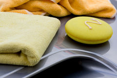 Cleaning the Car. Waxing process Royalty Free Stock Image
