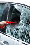 Cleaning car on a car wash Stock Photography