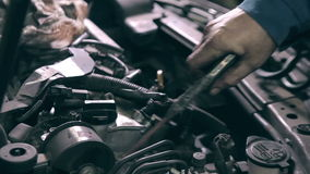 Cleaning car engine stock video footage