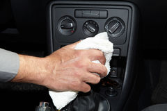 Cleaning the car. Hand with microfiber cloth Stock Photos