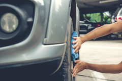 Cleaning a car Royalty Free Stock Photos