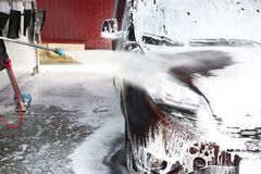 Cleaning car with high water. Cleaning car with high pressure water stock image