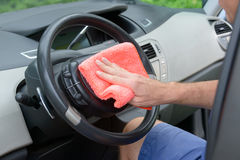 Cleaning car interior Royalty Free Stock Images
