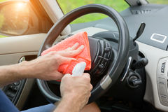 Cleaning car interior Stock Photo