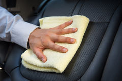 Cleaning car seat Royalty Free Stock Images