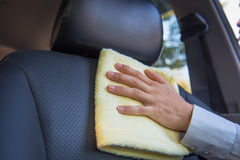 Cleaning car seat Royalty Free Stock Photo