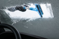 Cleaning Car From Snow Stock Photos