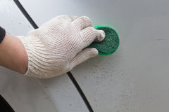 Cleaning the car. With a sponge Stock Photo