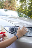 Cleaning car on sunny morning Stock Photography