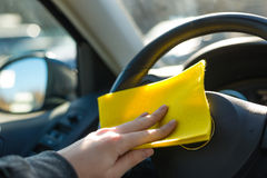 Cleaning car. And wash from dust inside Royalty Free Stock Photography