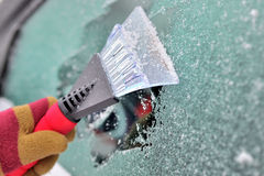 Cleaning car windows Stock Image